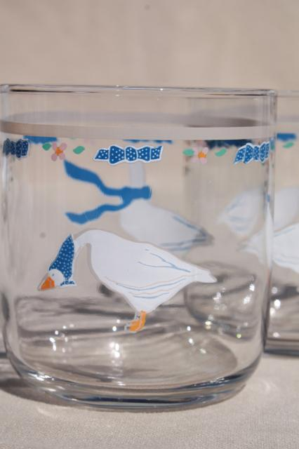Country Geese Blue Ribbon Goose Print Drinking Glasses