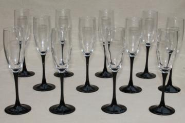 Cristal d'Arques black stem crystal champagne flutes, set of 12 vintage glasses