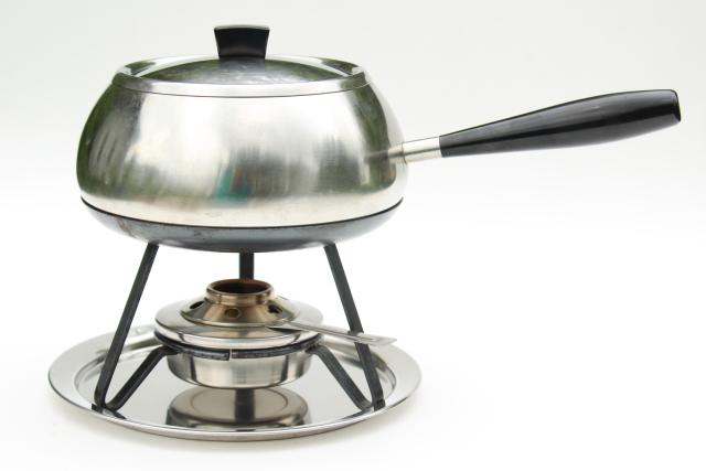 Cromargan WMF brushed stainless steel Swiss fondue pot, mid-century mod vintage