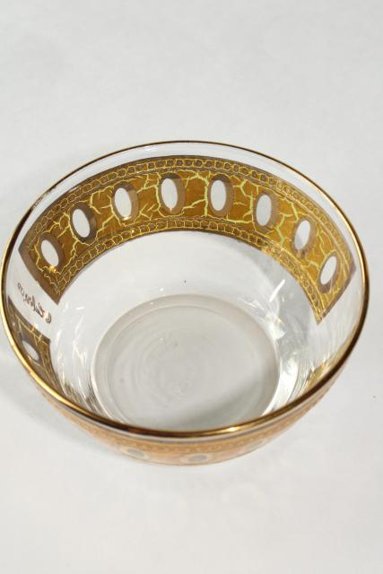 Culver Antigua encrusted gold band glass dip bowl, vintage mid-century mod glassware