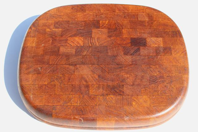 Danish mod end grain wood kitchen serving / cutting board, vintage Denby stone & teak line