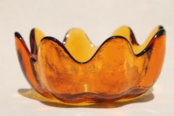 Danish mod vintage orange glass lotus flower shaped bowl, Blenko or Indiana art glass