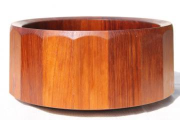 Dansk Denmark danish modern staved teak wood salad bowl, 60s vintage Quistgaard design