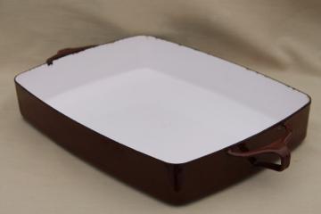 Dansk Kobenstyle lasagna pan, Quistguaard vintage danish modern brown enamel cookware