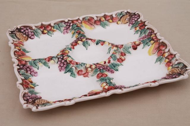Della Robbia fruit border vintage Lefton Japan china tiered plate, tray, relish dish