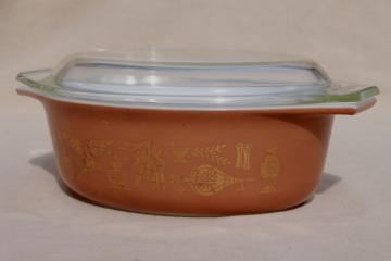 Early American Heritage vintage Pyrex l 1/2 quart casserole w/ clear glass lid