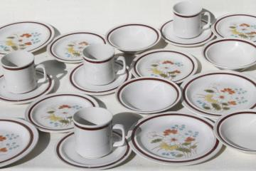 Early Summer retro flowers stone china, vintage Japan stoneware dinnerware set for 4