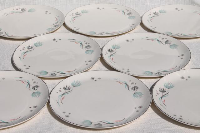 Enchantment floral vintage Crooksville china dinner plates w/ wild wind blown flowers