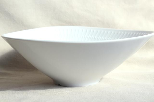 Euro style MCM vintage pure white embossed china triangle fruit bowl, Apart Hutschenreuther Germany