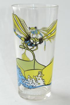 Evinrude dragonfly 70s vintage Pepsi glass, Disney The Rescuers