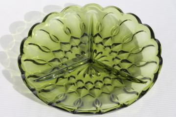 Fairfield Anchor Hocking glass relish tray, 60s retro verde green divided dish