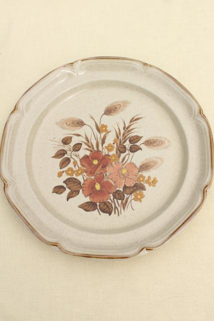 Festive wheat & fall flowers stoneware pottery, 70s vintage Japan dinnerware