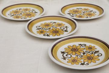 Fiesta flowers retro 70s vintage Japan stoneware dinner plates, Nu Stone International Silver