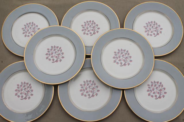 Flintridge twilight grey \u0026 pink floral china dinner plates mid-century vintage & Flintridge twilight grey \u0026 pink floral china dinner plates mid ...
