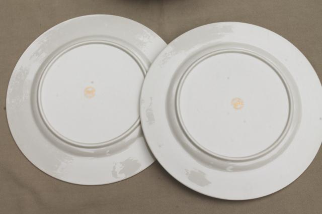 Flintridge twilight grey & pink floral china dinner plates, mid-century vintage