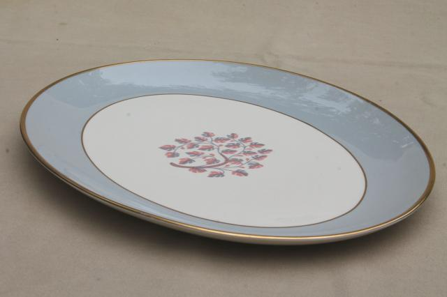 Flintridge twilight grey & pink floral china platter, mid-century vintage