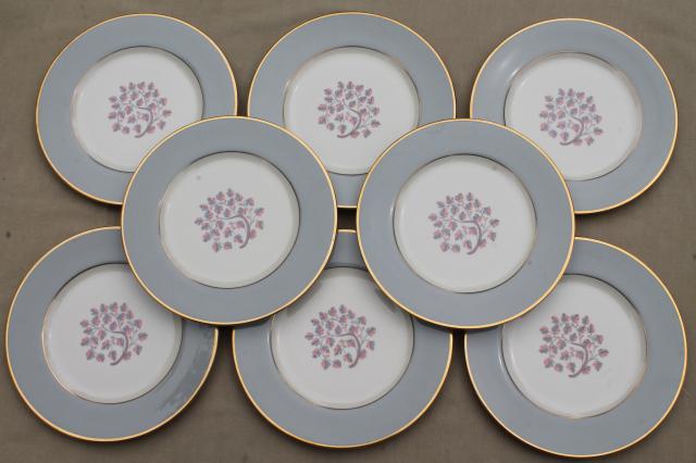 Flintridge twilight grey u0026 pink floral china salad plates mid-century vintage & Flintridge twilight grey u0026 pink floral china salad plates mid ...
