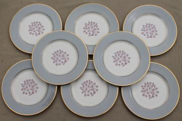 Flintridge twilight grey & pink floral china salad plates, mid-century vintage