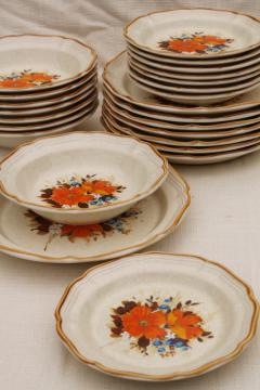 Flower Fest Mikasa Garden Club vintage Japan stoneware pottery dishes, retro dinnerware set