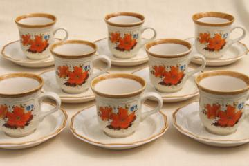 Flower Fest Mikasa Garden Club vintage Japan stoneware set coffee mug cups & saucers