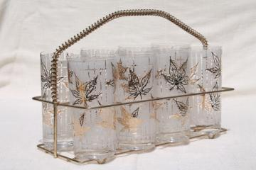 Fred Press vintage leaf print drinking glasses w/ mod gold wire carrier basket stand