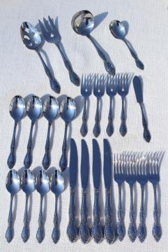 Galveston Oneida unused vintage silverware set, 70s stainless steel flatware