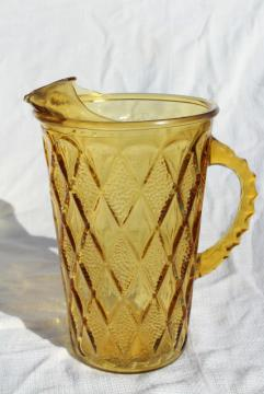 Gemstone diamond pattern vintage Anchor Hocking pitcher, honey gold amber glass