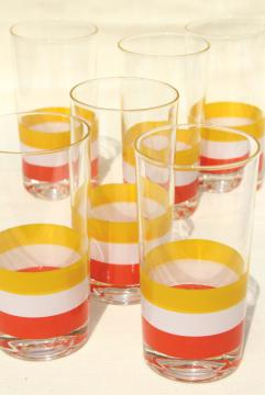 Georges Briard Cabana stripes glassware, orange yellow white striped highball tumblers