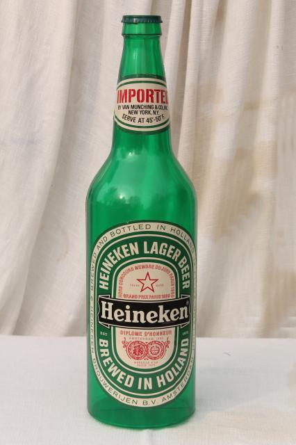 Giant heineken beer bottle 25 inch tall vintage plastic