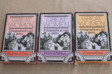 Great Women of history playing cards games, inspirational biographies of feminist heroes