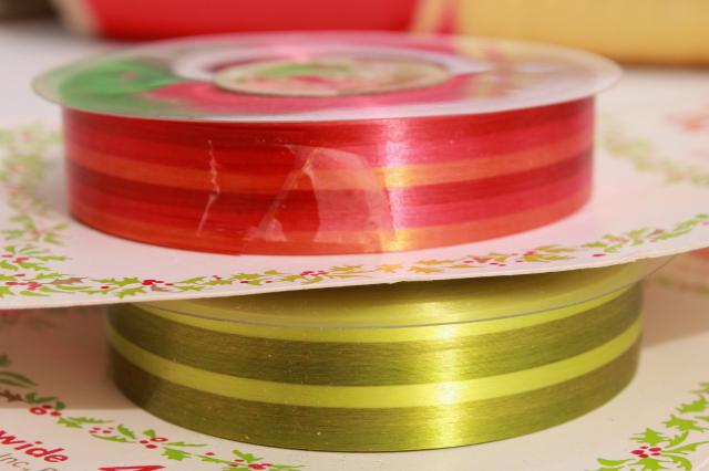 HUGE lot vintage ribbon, retro green gold gift wrap ribbons for garlands, party streamers?