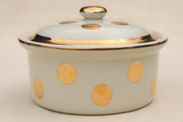 Hall gold dots covered casserole bowl, 50s vintage Eva Zeisel Hall's Superior China