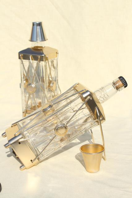 He's A Jolly Good Fellow music box decanters, mid century vintage glass liquor bottles