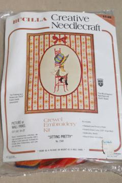 Holly Hobbie vintage Bucilla needlework kit for crewel wool embroidery picture w/ yarn & linen
