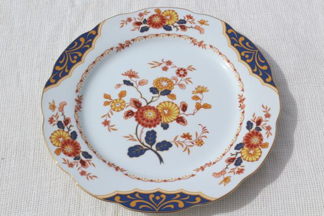 Home Beautiful Canton Fair blue red gold chinoiserie china dinnerware, vintage set for 8