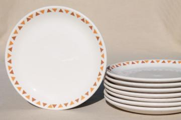 Homer Laughlin ironstone china plates w/ retro tribal style geometric triangles border
