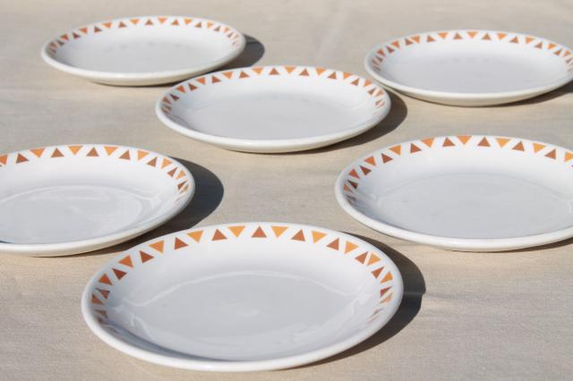 Homer Laughlin ironstone china plates w/ retro tribal style geometric triangles border & vintage china dishes and dinnerware