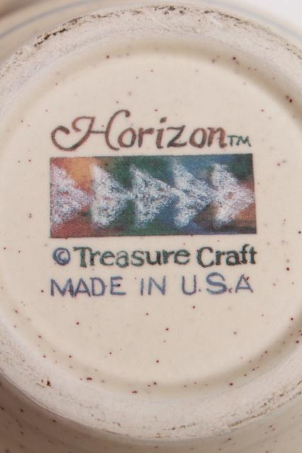 Horizon Treasure Craft ceramic chip & dip set, vintage pottery southwest style bowls