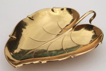 Ikora vintage brass leaf shaped dish or bowl, mid-century modern metalware