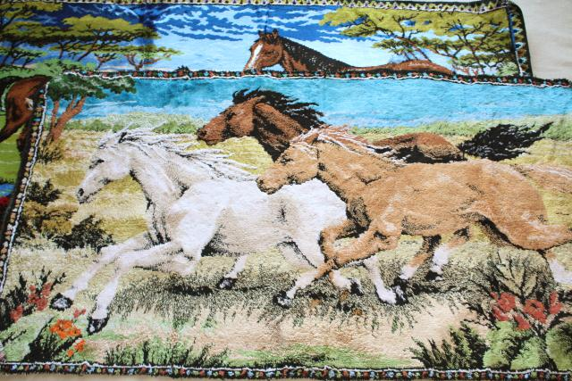 Italian velvet tapestries w/ horses, mustangs, wall hanging rugs for vintage bohemian / western decor