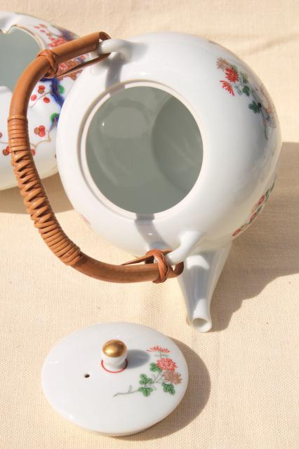Japanese porcelain teapot on stand & tea bowls set, hand painted vintage Japan