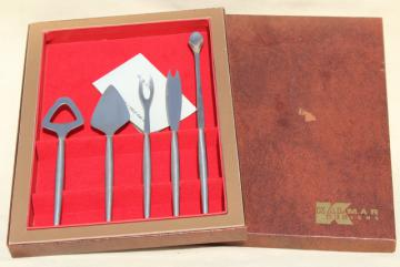 Kalmar - Italy mid-century mod vintage brushed stainless steel bar tools set