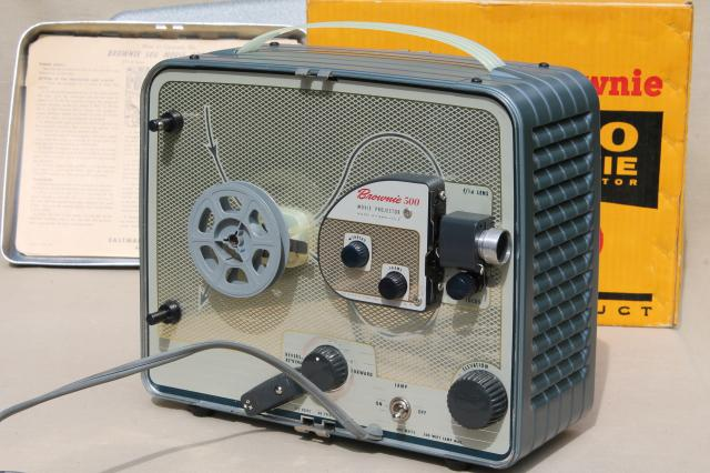 Kodak Brownie 500 portable mid century vintage projector for 8mm movies