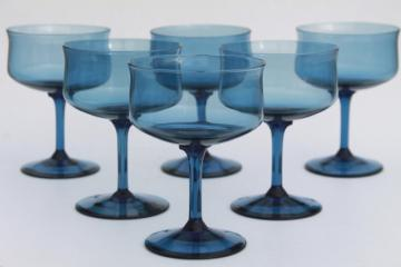 Lenox blue mist smoke glass champagne glasses, tulip shape vintage stemware