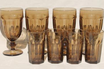 Libbey Gibraltar mocha brown smoke iced tea water goblets & juice glasses set