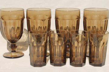 Libbey Gibraltar mocha brown smoke iced tea water goblets & juice glasses set