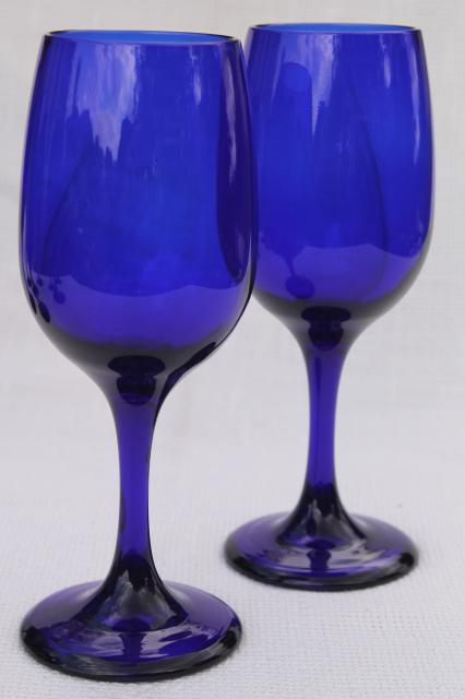 Libbey Premiere cobalt blue glass white wine glasses or water goblets