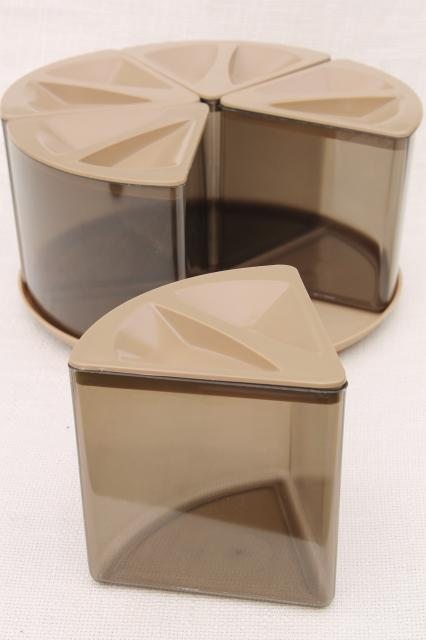 Loma plastic Turn A Bin 70s vintage plastic canister set kitchen lazy susan