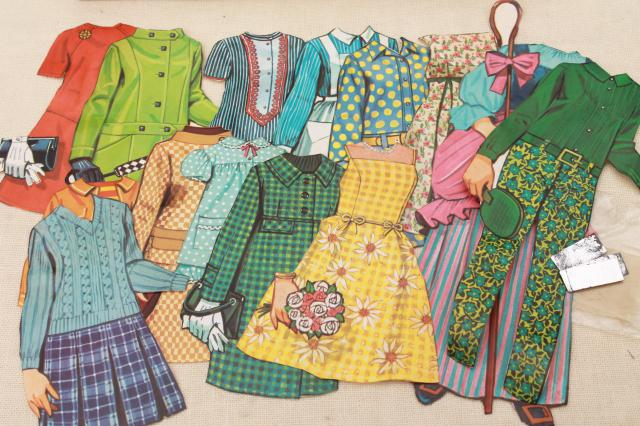 MB box Magic Mary Jane 60s vintage magnetic paper doll, retro flip & groovy outfits
