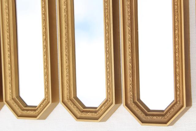 MCM 50s 60s vintage gold framed mirror grouping, retro focal point mirrored wall